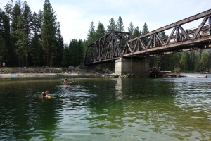 A swimming hole near the trestle bridge within the campground